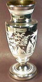 Etched silvered vase