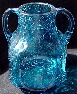 Blue crackle glass vase