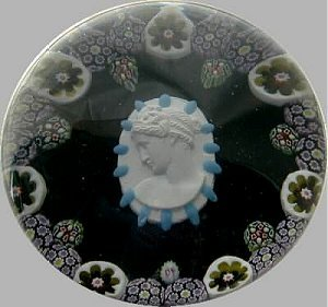 glass paperweight with cameo