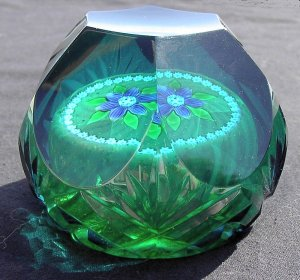 Purple clematis paperweight by Colin Terris