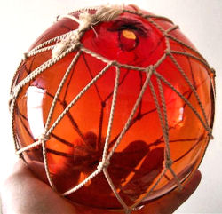 rare orange glass fishing floats
